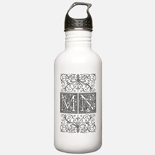 MN, initials, Water Bottle