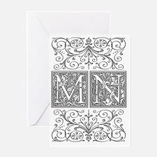 MN, initials, Greeting Card