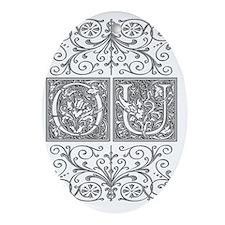 OU, initials, Oval Ornament