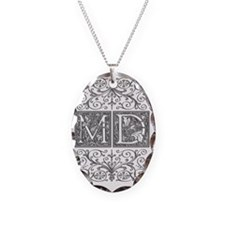 MD, initials, Necklace