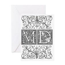 MD, initials, Greeting Card