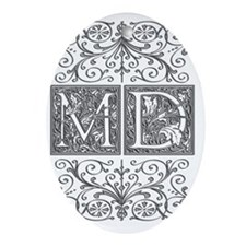 MD, initials, Oval Ornament