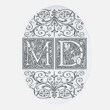 MD, initials, Oval Ornament