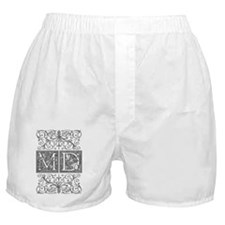 MD, initials, Boxer Shorts
