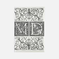 MD, initials, Rectangle Magnet