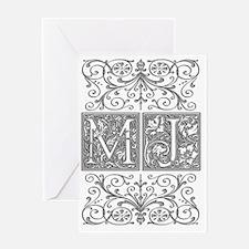 MJ, initials, Greeting Card