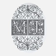 MJ, initials, Oval Ornament