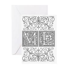 ML, initials, Greeting Card