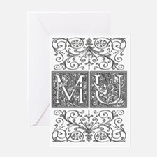MU, initials, Greeting Card