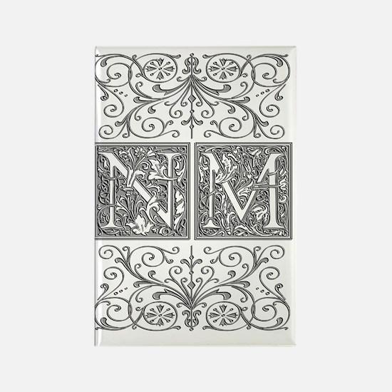 NM, initials, Rectangle Magnet