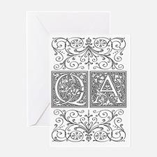 QA, initials, Greeting Card
