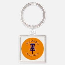 Orange Disc golf Disc Square Keychain