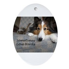 Sometimes Love Herds Ornament (Oval)