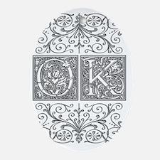 OK, initials, Oval Ornament