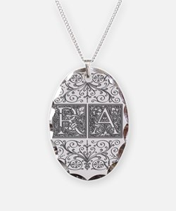 RA, initials, Necklace Oval Charm