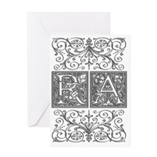 RA, initials, Greeting Card