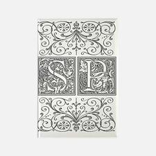 SP, initials, Rectangle Magnet