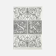 SK, initials, Rectangle Magnet