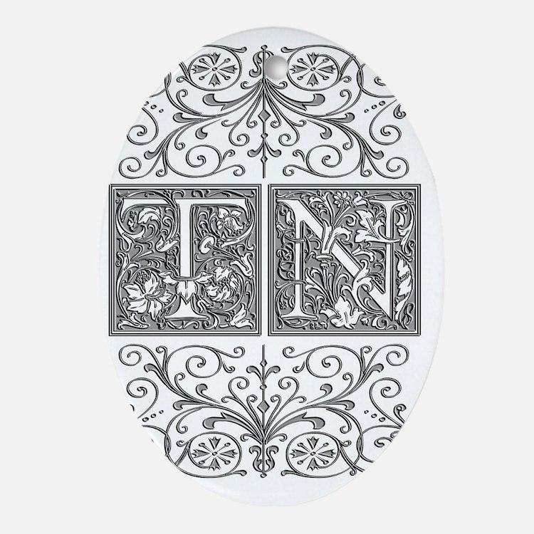 TN, initials, Oval Ornament