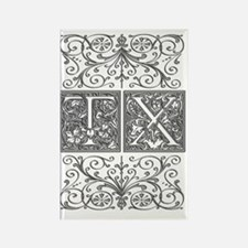 TX, initials, Rectangle Magnet