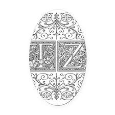 TZ, initials, Oval Car Magnet