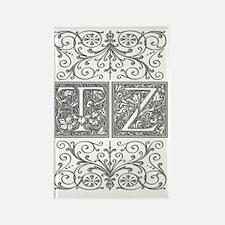 TZ, initials, Rectangle Magnet