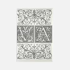 VA, initials, Rectangle Magnet