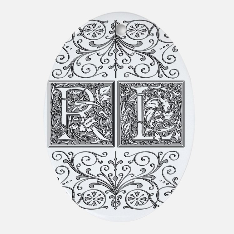 RL, initials, Oval Ornament