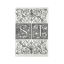 SJ, initials, Rectangle Magnet