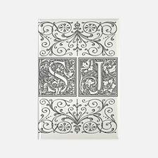 SJ, initials, Rectangle Magnet