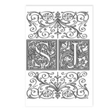 SJ, initials, Postcards (Package of 8)