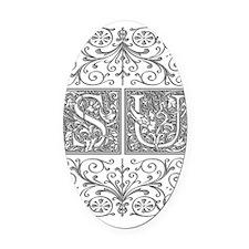 SU, initials, Oval Car Magnet