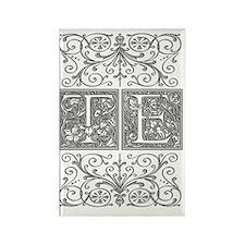 TE, initials, Rectangle Magnet
