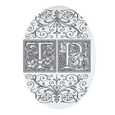 TP, initials, Oval Ornament