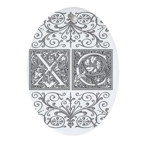 XC, initials, Oval Ornament