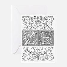 ZE, initials, Greeting Card