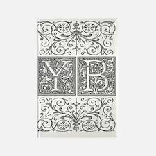 YB, initials, Rectangle Magnet