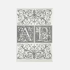 AP, initials, Rectangle Magnet