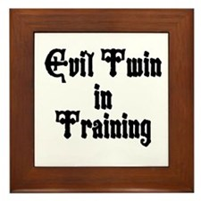 TwinBaby Evil in Training Framed Tile