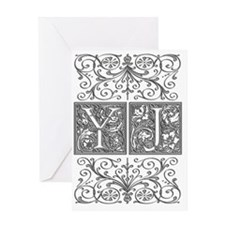 YJ, initials, Greeting Card
