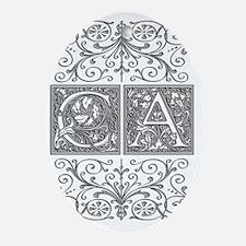 CA, initials, Oval Ornament