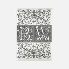 BW, initials, Rectangle Magnet