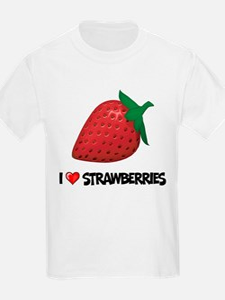 I Love Strawberries Kids T-Shirt