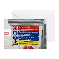 Asbestos removal warning signs Greeting Card