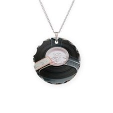 Audio tape reel Necklace Circle Charm