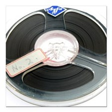 """Audio tape reel Square Car Magnet 3"""" x 3"""""""