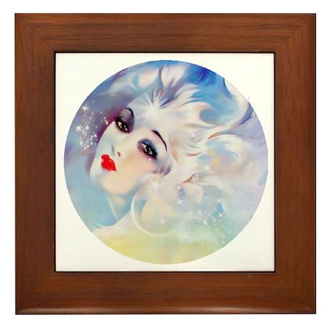Art Deco Fantasy in the Stars lady.. Framed Tile