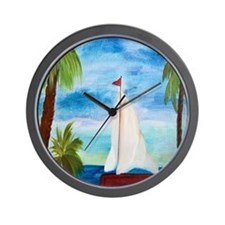 Red Sailboat Wall Clock