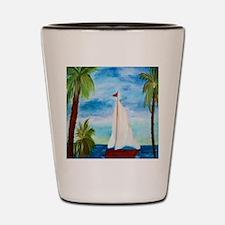 Red Sailboat Shot Glass