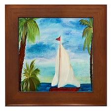 Red Sailboat Framed Tile